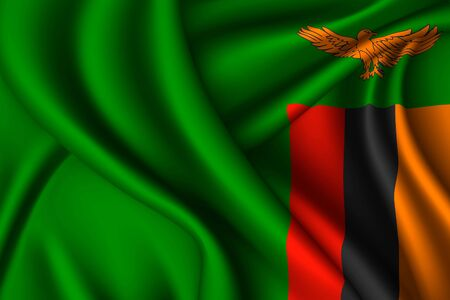 Zambia national flag of silk. Vector fabric texture