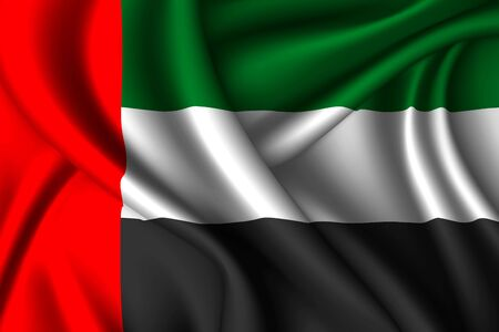 United Arab Emirates national flag of silk. Vector fabric texture