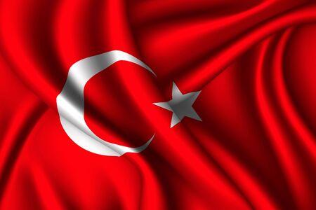 Turkey national flag of silk. Vector fabric texture 向量圖像