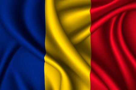 Romania national flag of silk. Vector fabric texture