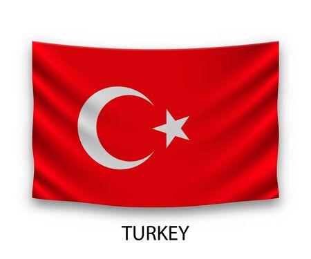Hanging silk flag of Turkey. Vector illustration.