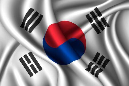 South Korea national flag of silk. Vector fabric texture  イラスト・ベクター素材