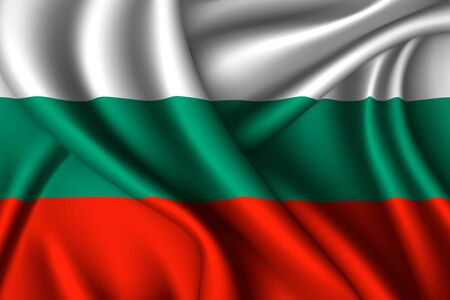 Bulgaria national flag of silk. Vector fabric texture