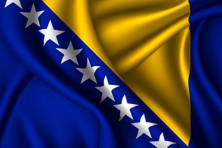 Bosnia national flag of silk. Fabric texture