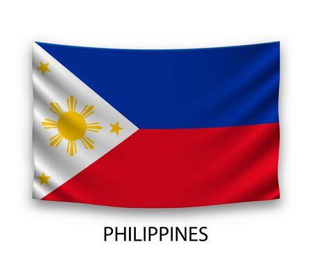 Hanging silk flag of Philippines. Vector illustration.
