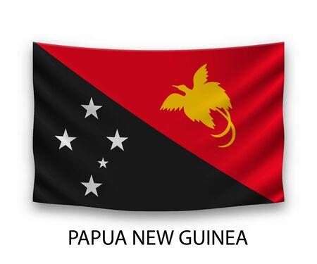 Hanging silk flag of Papua New Guinea. Vector illustration.