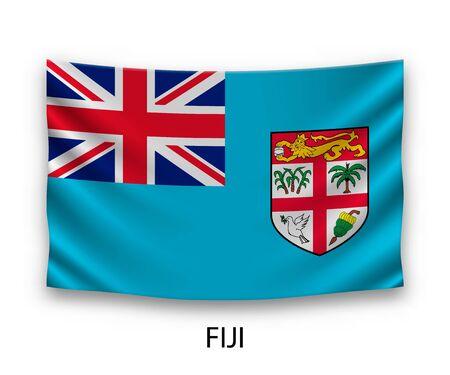 Hanging silk flag of Fiji. Vector illustration. Illustration
