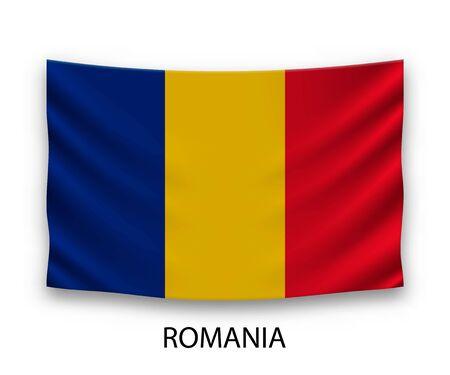 Hanging silk flag of Romania. Vector illustration.