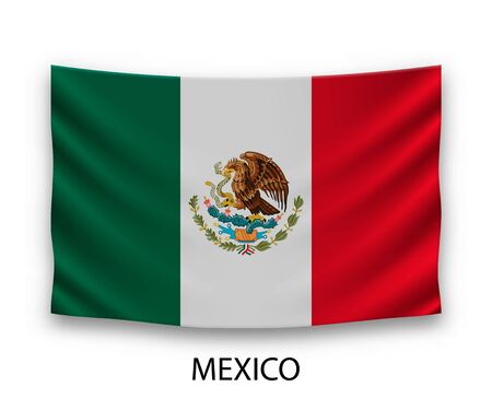 Hanging silk flag of Mexico. Vector illustration.