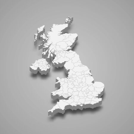 3d map of United Kingdom with borders of regions