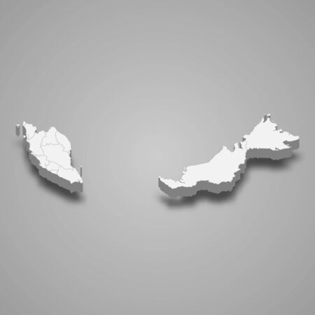 3d map of Malaysia with borders of regions