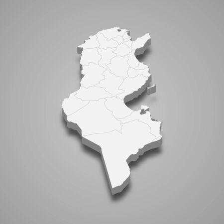 3d map of Tunisia with borders of regions Ilustração Vetorial