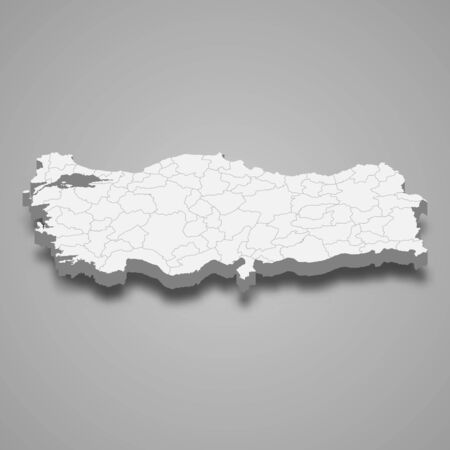 3d map of Turkey with borders of regions 向量圖像