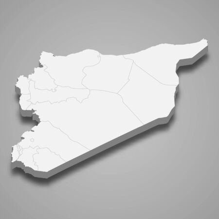 3d map of Syria with borders of regions