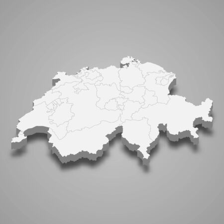 3d map of Switzerland with borders of regions