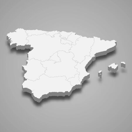 3d map of Spain with borders of regions