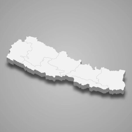 3d map of Nepal with borders of regions