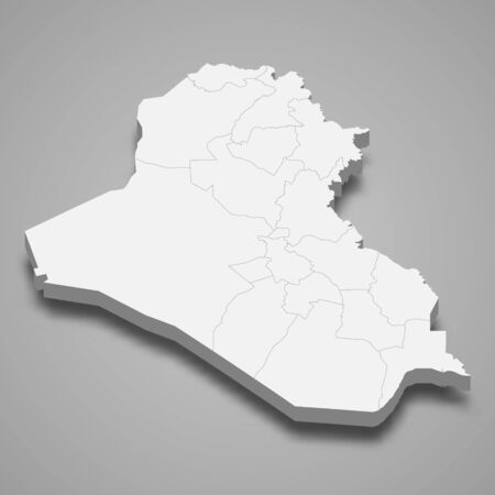 3d map of Iraq with borders of regions