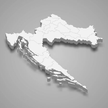 3d map of Croatia with borders of regions