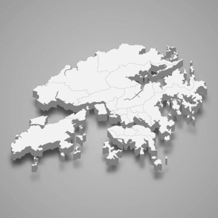 3d map of Hong Kong with borders of regions 向量圖像