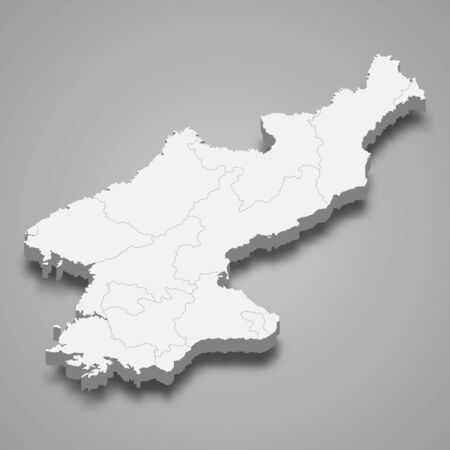 3d map of North Korea with borders of regions