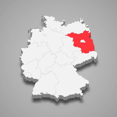 Brandenburg state location within Germany 3d map