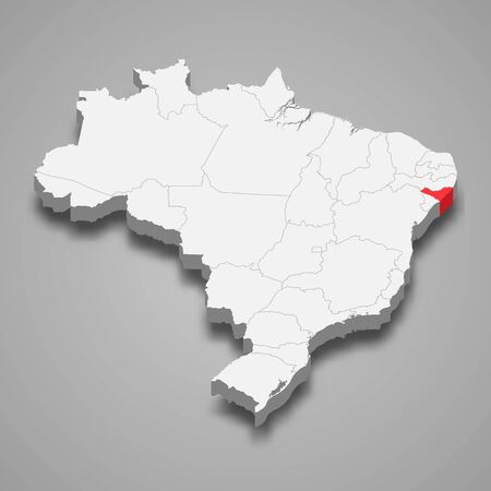 Alagoas state location within Brazil 3d map