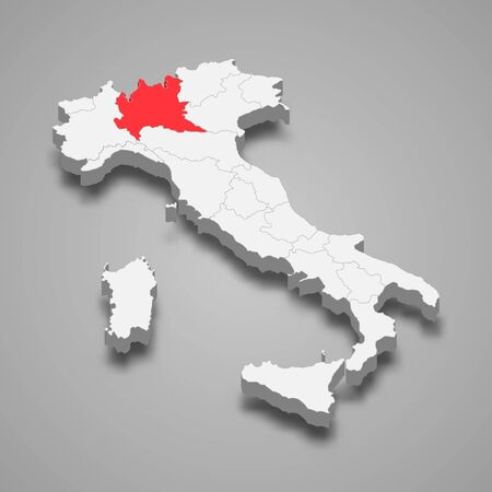 Lombardy region location within Italy 3d map Vettoriali