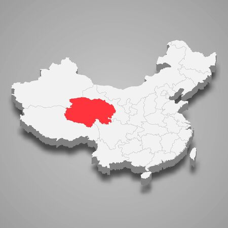 Qinghai province location within China 3d map Ilustración de vector