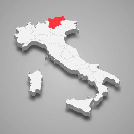 Trentino-South Tyrol region location within Italy 3d map