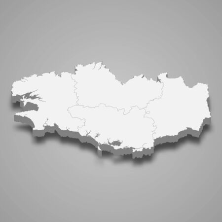 3d map of Brittany is a region of France Vettoriali