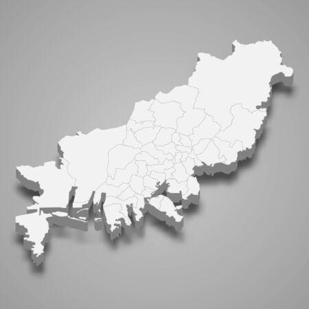 3d map of Busan metropolitan city is a region of South Korea  イラスト・ベクター素材
