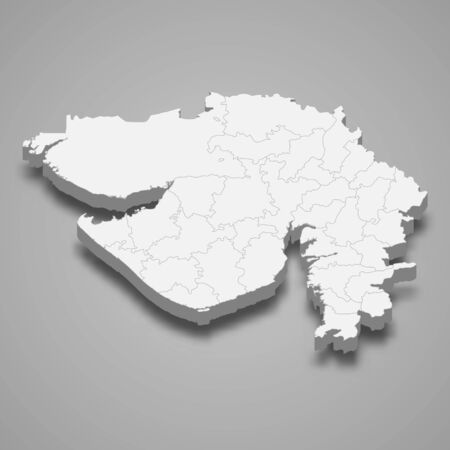 3d map of Gujarat is a state of India 矢量图像