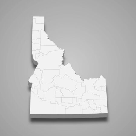 3d map of Idaho is a state of United States