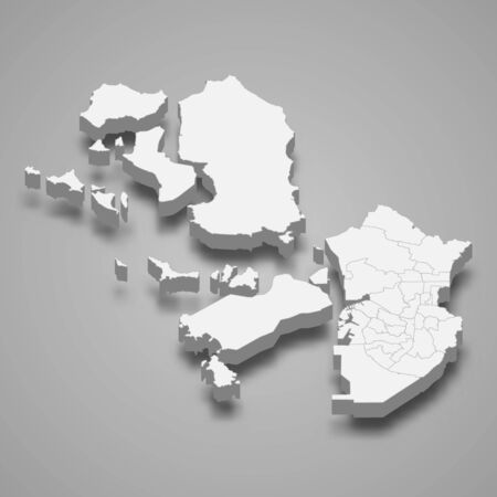 3d map of Incheon metropolitan city is a region of South Korea