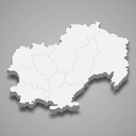 3d map of Magadan Oblast is a region of Russia Illusztráció