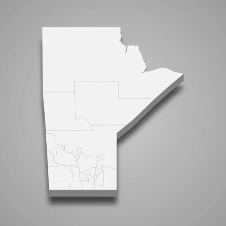 3d map of Manitoba is a province of Canada