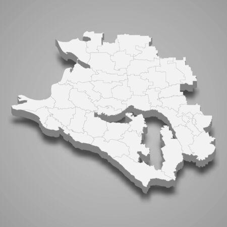 3d map of Krasnodar Krai is a region of Russia