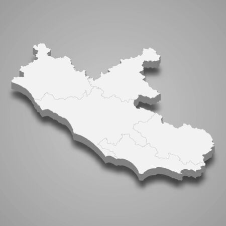 3d map of Lazio is a region of Italy