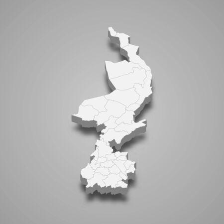 3d map of Limburg is a province of Netherlands Illusztráció