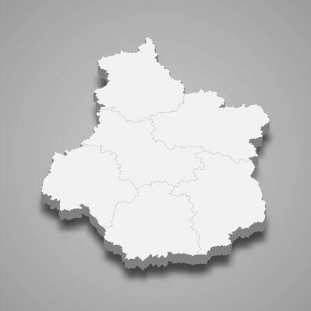 3d map of Centre-Val de Loire is a region of France Illustration