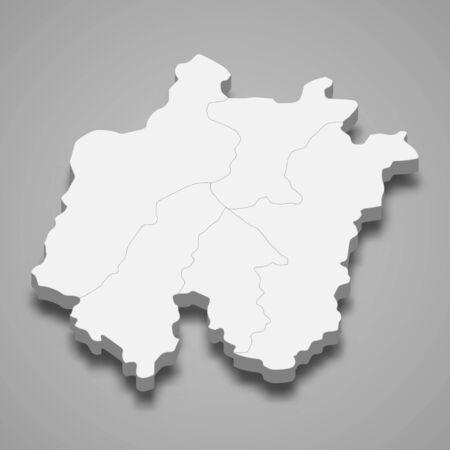 3d map of Daejeon metropolitan city is a region of South Korea  イラスト・ベクター素材