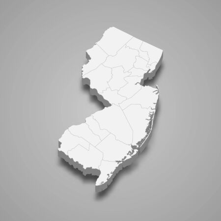 3d map of New Jersey is a state of United States  イラスト・ベクター素材