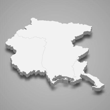 3d map of Friuli-Venezia Giulia is a region of Italy Çizim