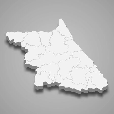 3d map of Gangwon province is a region of South Korea
