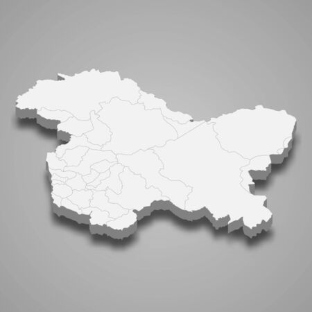 3d map of Jammu and Kashmir is a state of India 矢量图像