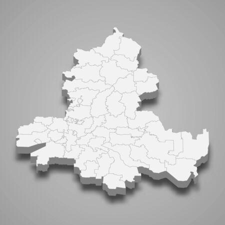 3d map of Rostov Oblast is a region of Russia Vektorové ilustrace