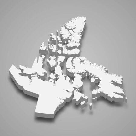 3d map of Nunavut is a province of Canada Illustration