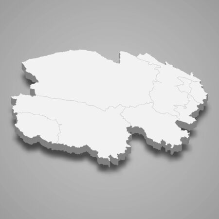3d map of Qinghai is a province of China
