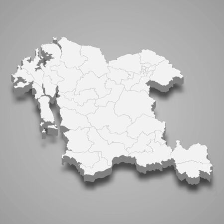 3d map of South Chungcheong province is a region of South Korea